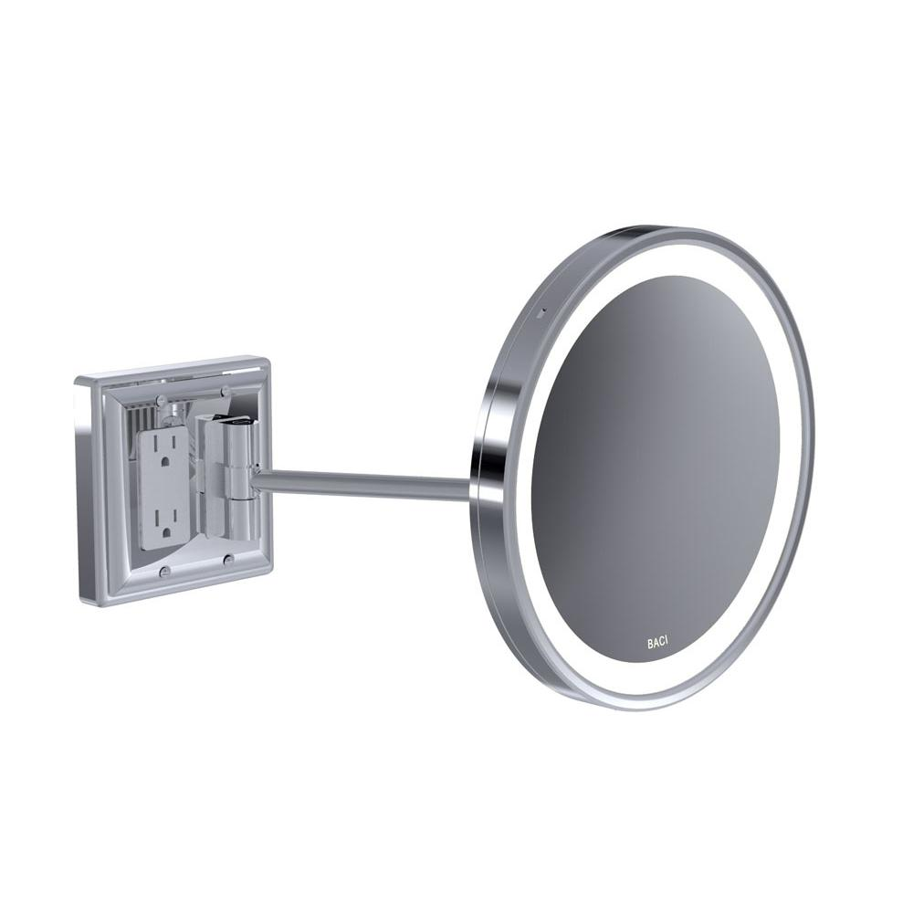 Baci Mirrors Baci Senior Wall Mirror With Gfci Outlet - Round