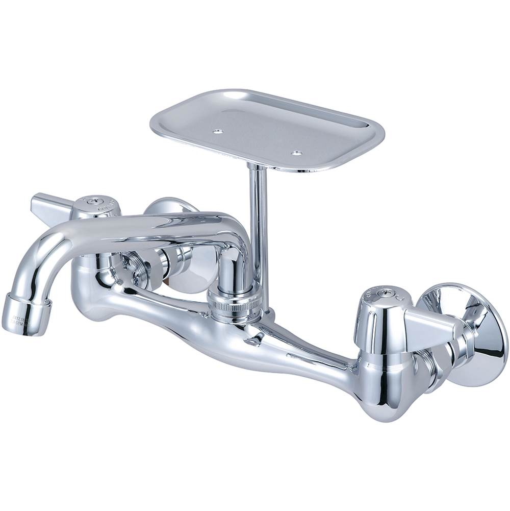 Central Brass Kitchen-Wallmount Canopy Hdl 6'' Tube Spt Soap Dish Male Adj Flange Ceramic Cart-Pc