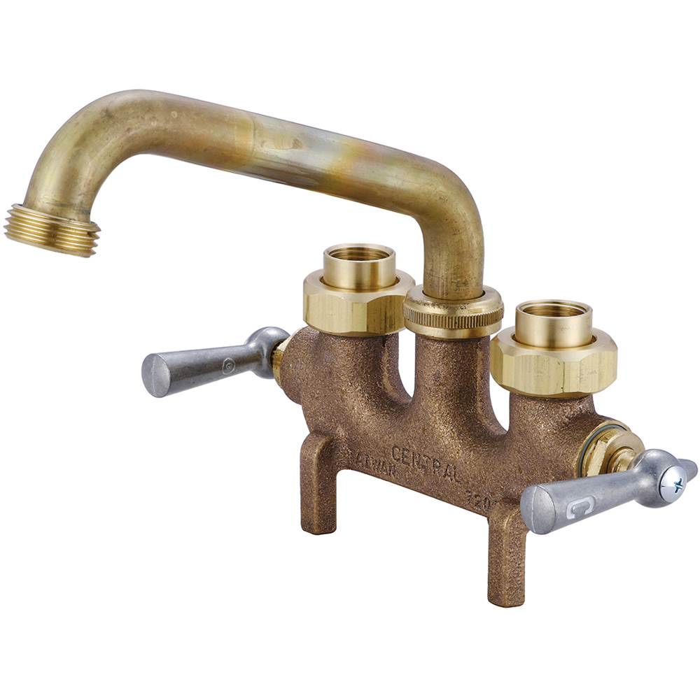 Central Brass Laundry-3-1/2'' Cntrs Two Lvr Hdls 6'' Tube Spt 1/2'' Combo Union Straddle Legs-Rough