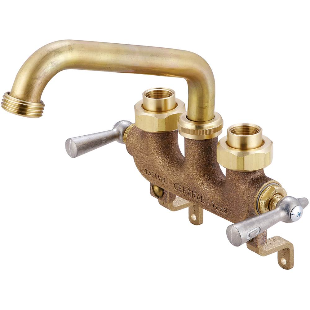 Central Brass Laundry-3-1/2'' Cntrs Two Lvr Hdls 6'' Tube Spt 1/2'' Combo Union Offset Legs-Rough