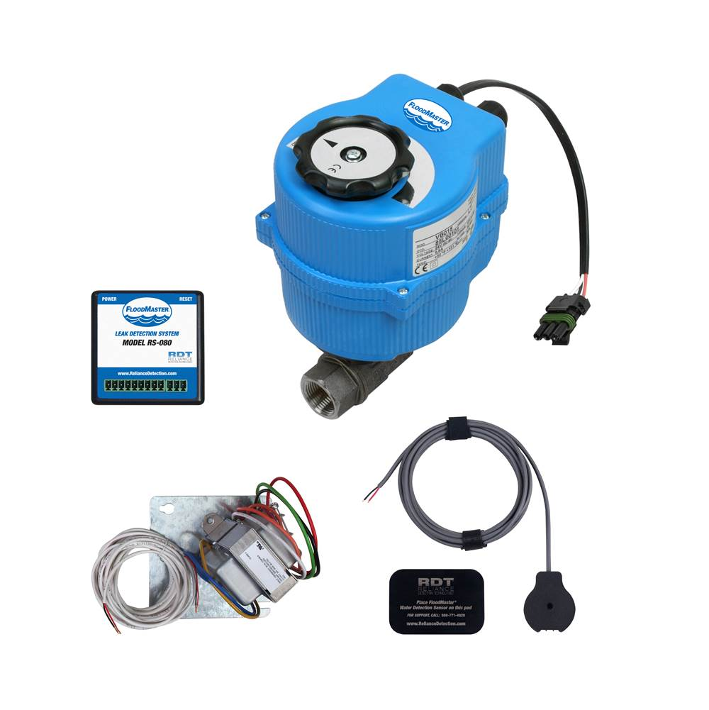 FloodMaster By RDT Plenum-Rated Plumbing Leak Detection & Automatic 1'' Water Main Supply Line Shut-Off System