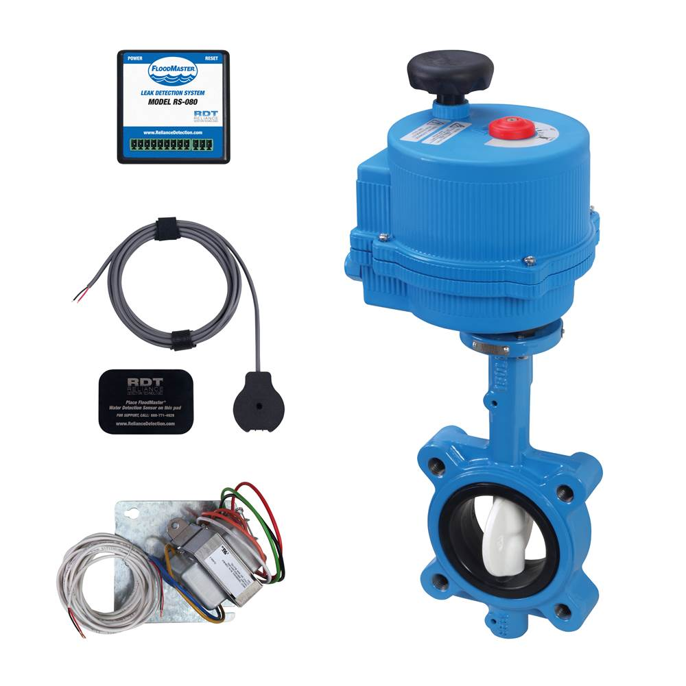 FloodMaster By RDT Plenum-Rated Plumbing Leak Detection & Automatic 2-1/2'' Water Main Supply Line Shut-Off System