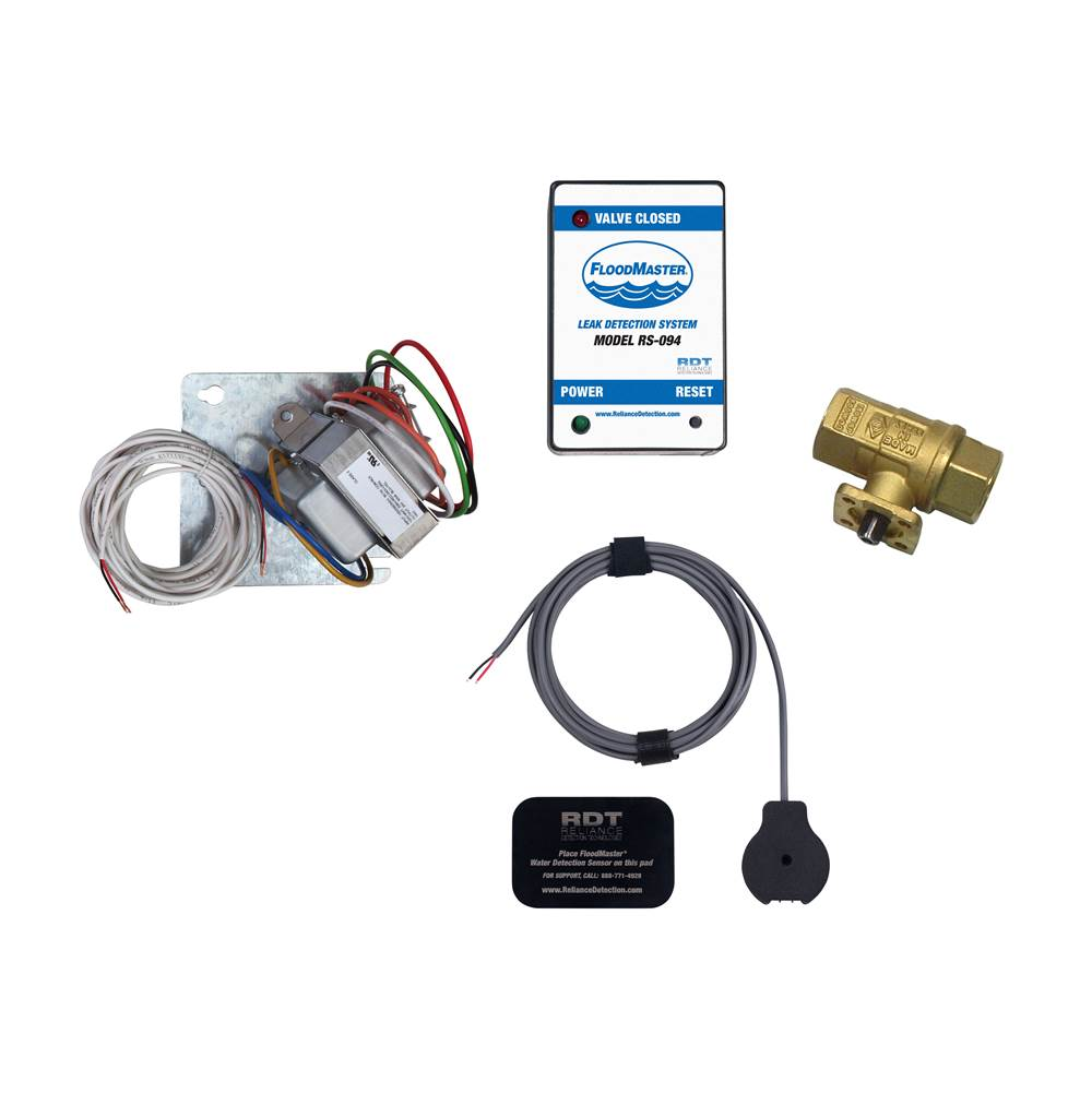 FloodMaster By RDT Plenum-Rated Water Heater/Tank Leak Detection & Automatic 1-1/4'' Water Supply Line Shut-Off System