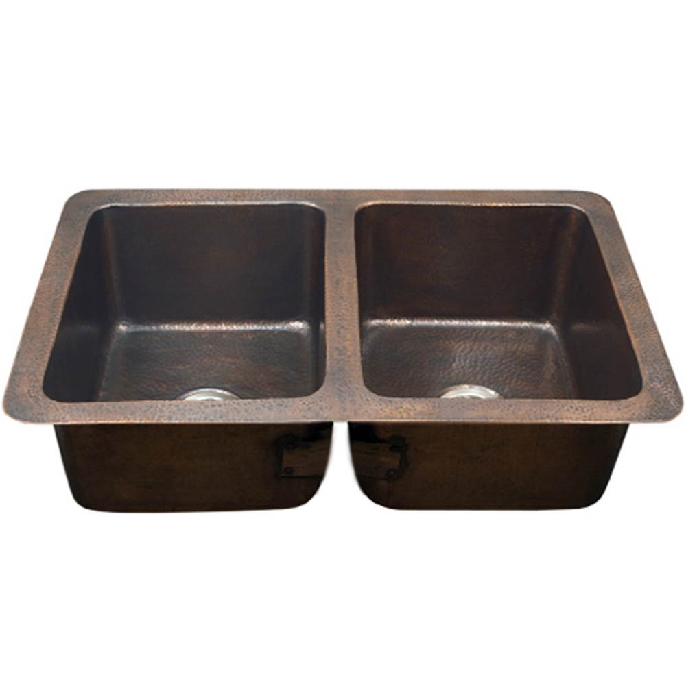 Hamat Undermount Copper 50/50 Double Bowl Kitchen Sink, Antique Copper