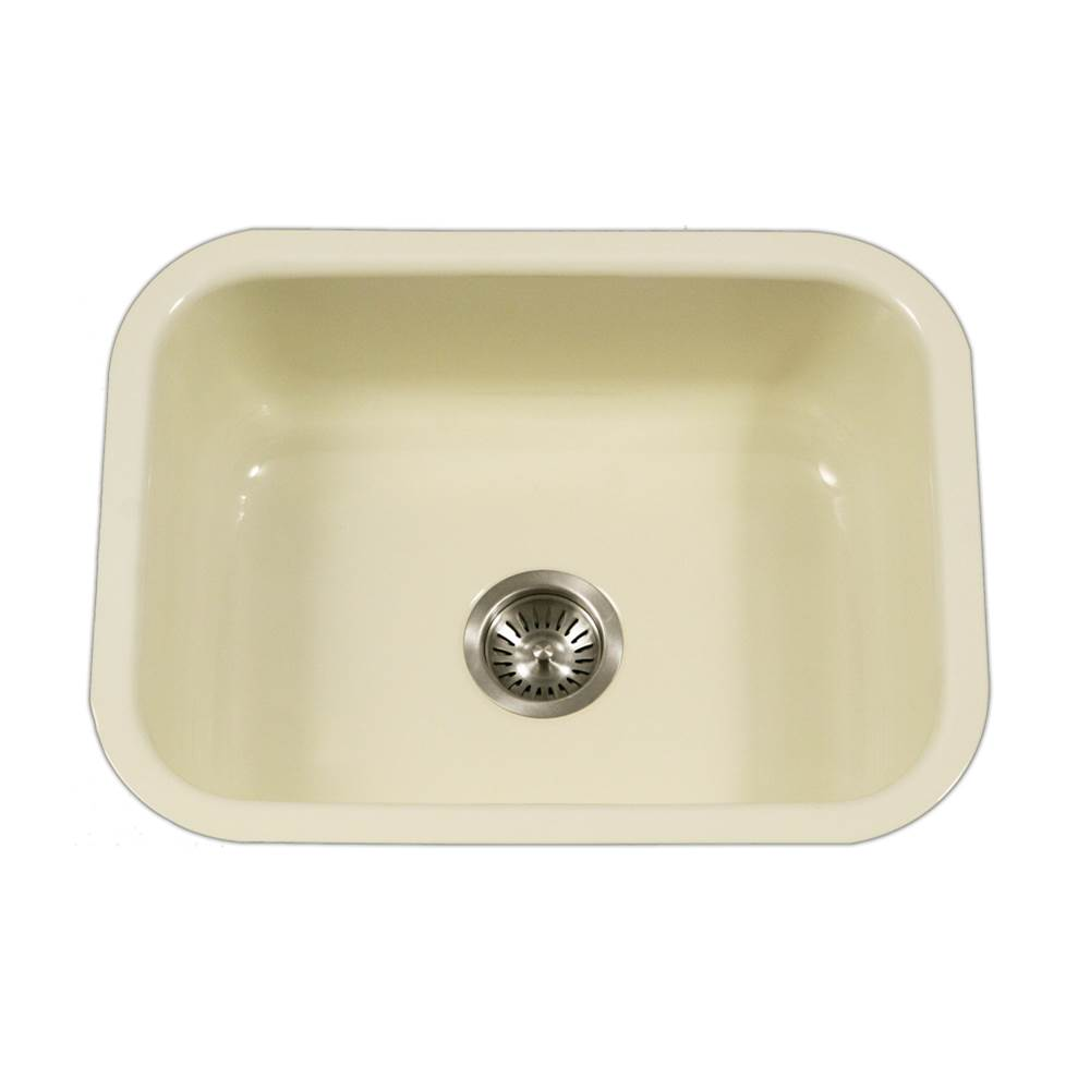 Hamat Enamel Steel Undermount Single Bowl Kitchen Sink, Biscuit