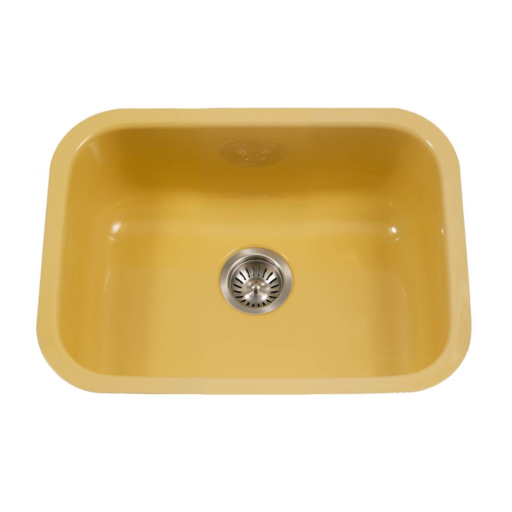 Hamat Enamel Steel Undermount Single Bowl Kitchen Sink, Lemon
