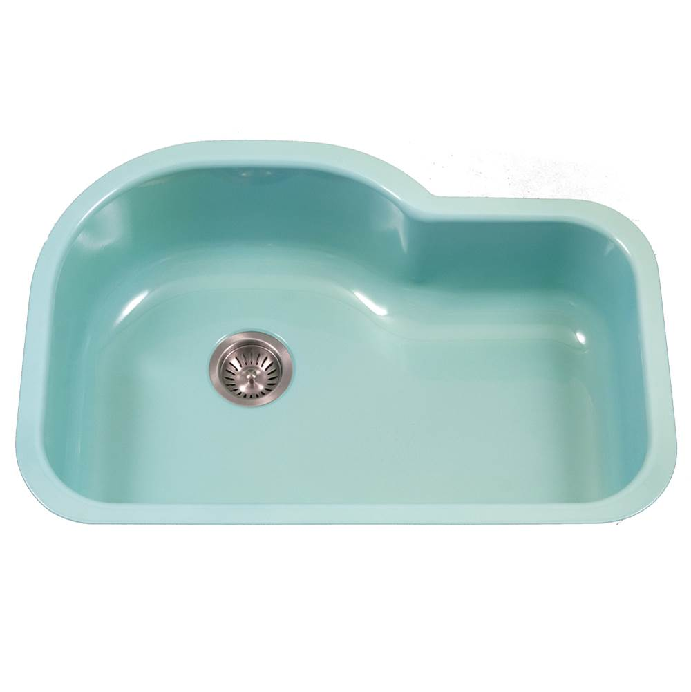 Hamat Enamel Steel Undermount Offset Single Bowl Kitchen Sink, Mint