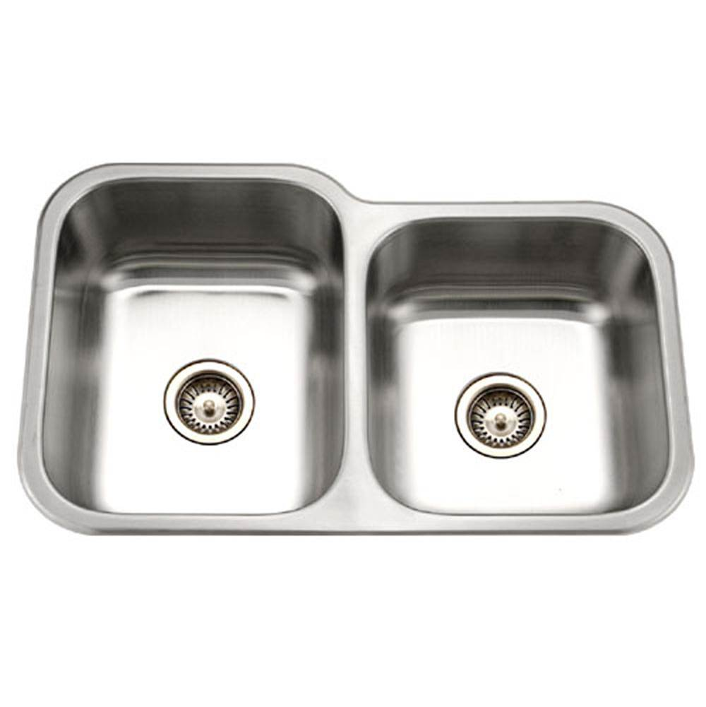 Hamat Undermount Stainless Steel 60/40 Double Bowl Kitchen Sink, Small Bowl Right
