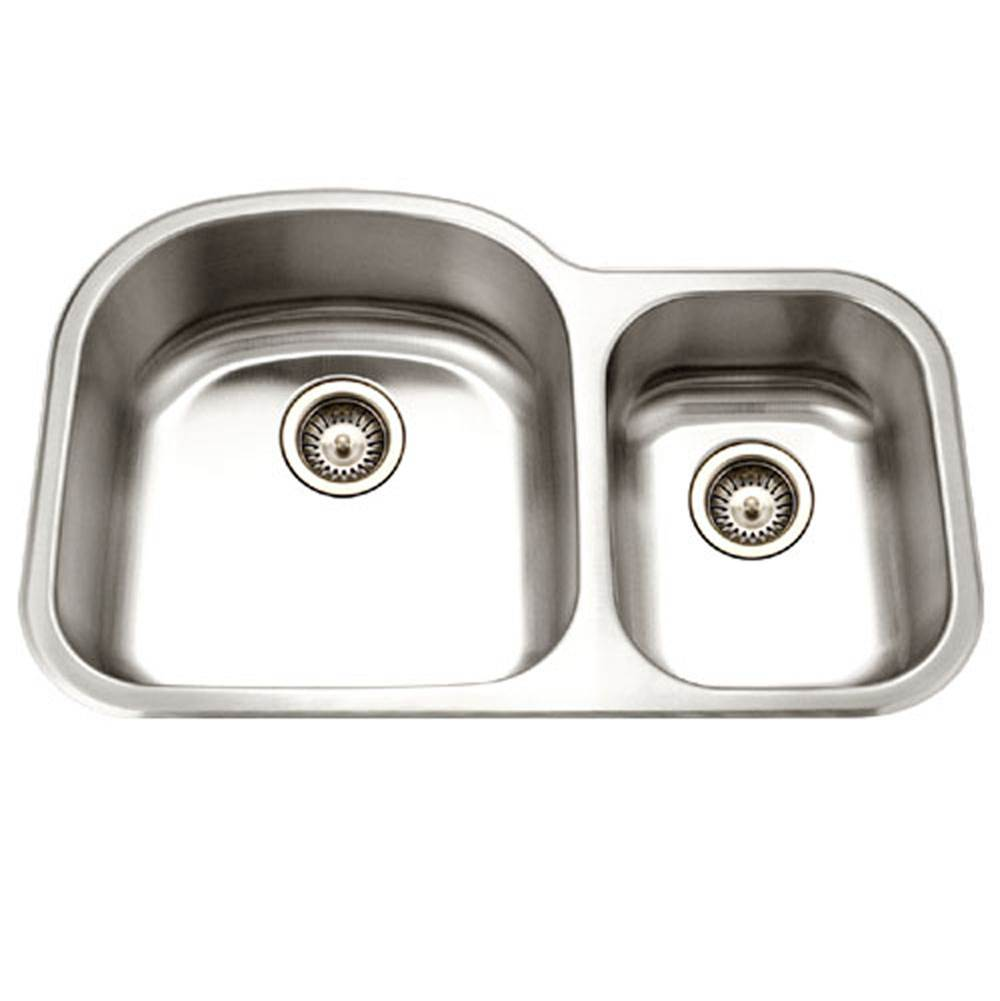 Hamat Undermount Stainless Steel 70/30 Double Bowl Kitchen Sink, Small Bowl Right