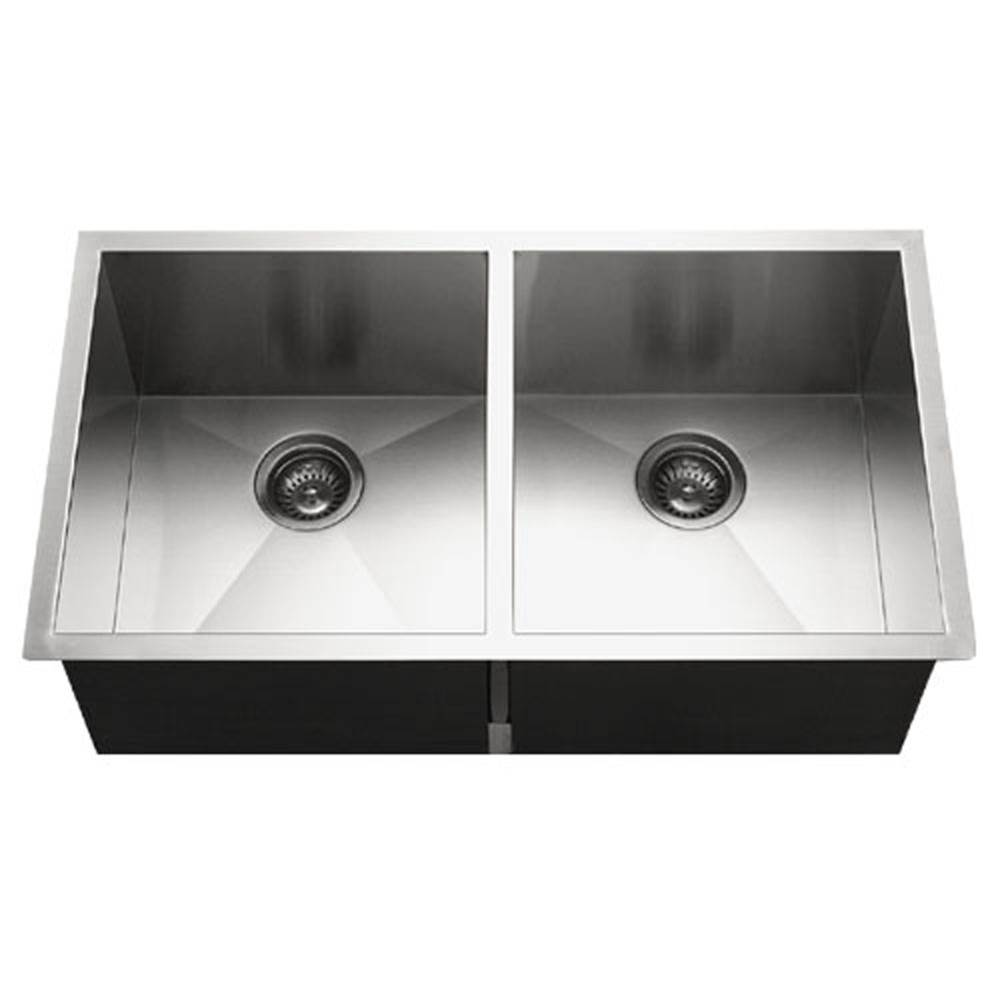 Hamat Undermount Stainless Steel 50/50 Double Bowl Kitchen Sink