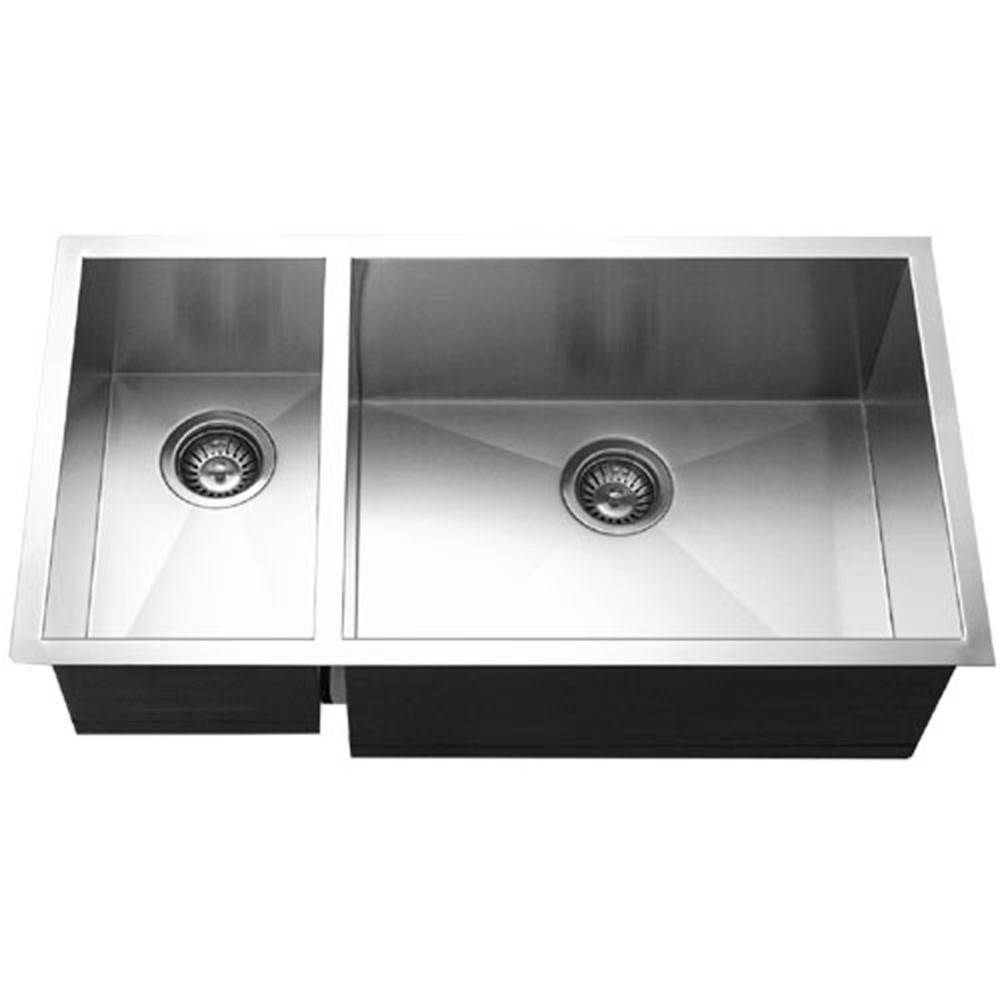 Hamat Undermount Stainless Steel 70/30 Double Bowl Kitchen Sink, Prep bowl left