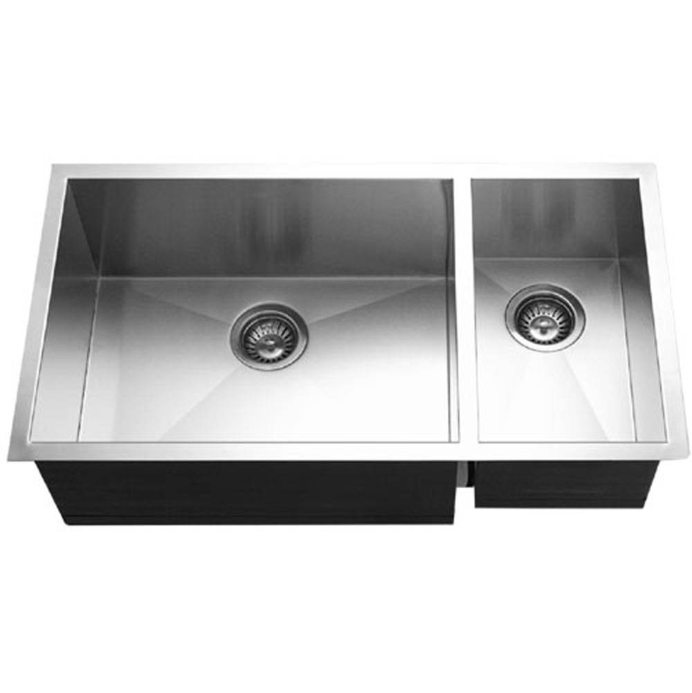 Hamat Undermount Stainless Steel 70/30 Double Bowl Kitchen Sink, Prep bowl Right