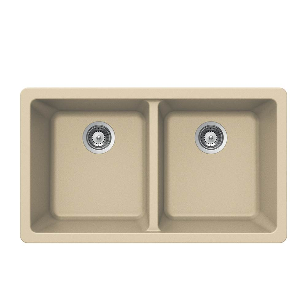 Hamat Granite Undermount 50/50 Double Bowl Kitchen Sink, Sand