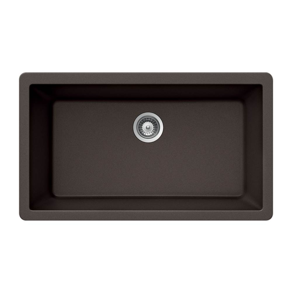 Hamat Granite Undermount Large Single Bowl Kitchen Sink, Mocha