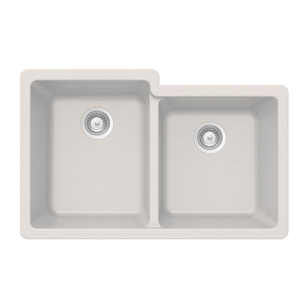 Hamat Granite Undermount 60/40 Double Bowl Kitchen Sink, Sand
