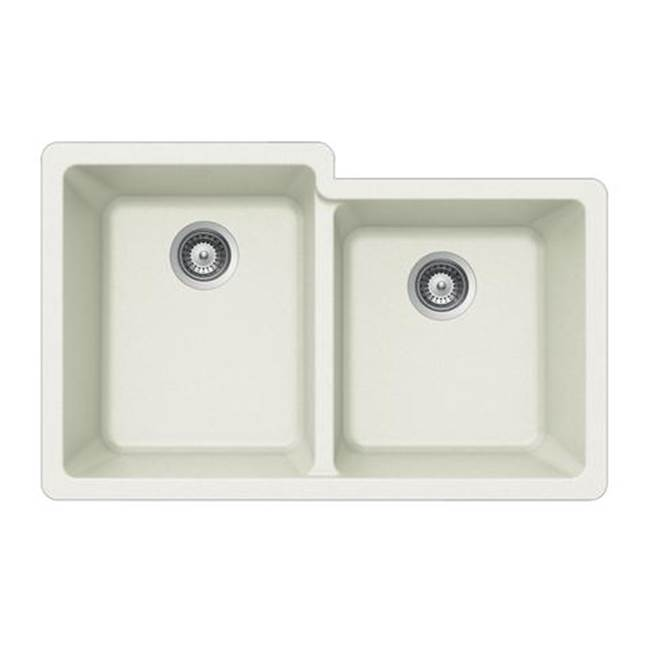 Hamat Granite Undermount 60/40 Double Bowl Kitchen Sink, White