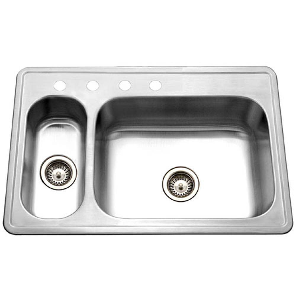 Hamat Topmount Stainless Steel 4-hole 70/30 Double Bowl Kitchen Sink