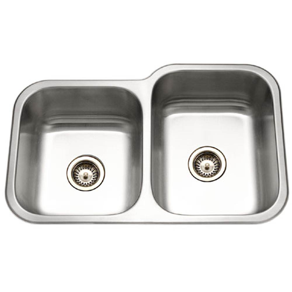 Hamat Undermount Stainless Steel 40/60 Double Bowl Kitchen Sink, Small bowl left