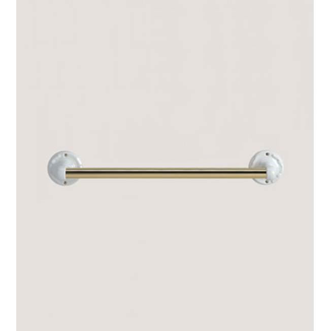 Herbeau ''Charleston'' 24'' Towel Bar in  White, Antique Lacquered Brass