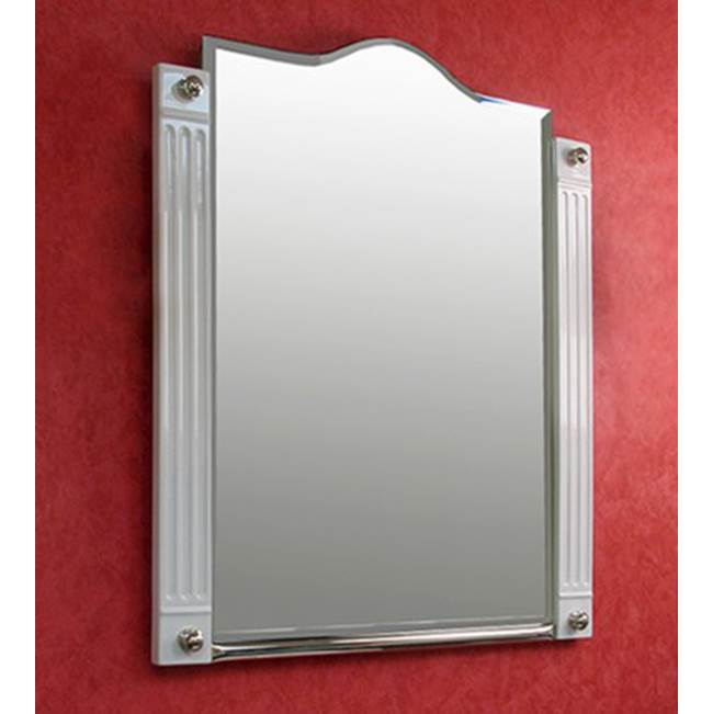 Herbeau ''Monarque'' Mirror in White with Weathered Brass Trim