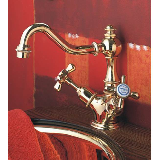 Herbeau ''Royale'' Single-Hole Basin Mixer without Pop-up Waste in Polished Chrome