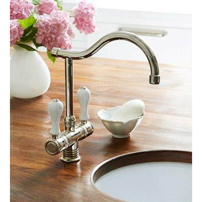 Herbeau ''Valence'' Single-Hole Mixer in White Handles, French Weathered Copper and Brass