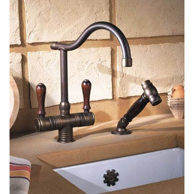 Herbeau ''Valence'' Single-Hole Mixer with Handspray in Wooden Handles, Lacquered Polished Black Nickel
