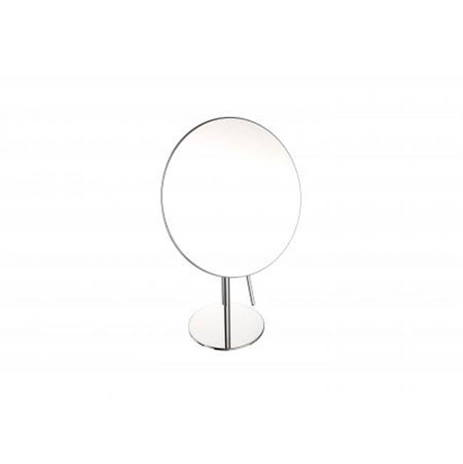 Kartners Free Standing Round Single Sided Mirror- Brushed Nickel