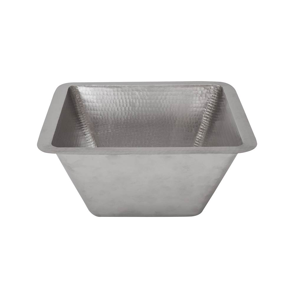 Premier Copper Products 15'' Square Hammered Copper Bar/Prep Sink in Nickel w/ 2'' Drain Size