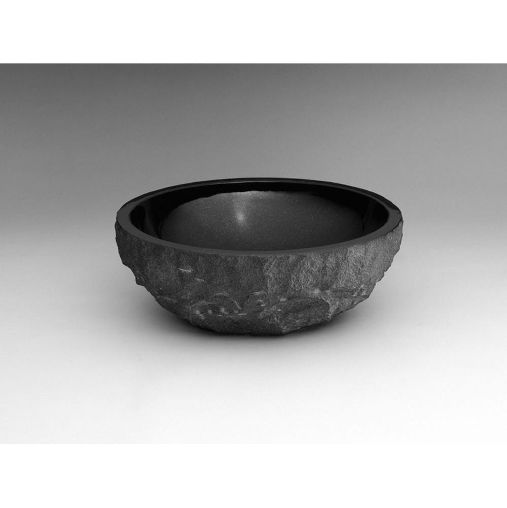 Ronbow round natural granite vessel bathroom sink in absolute black 350301 ab for Black granite vessel bathroom sinks