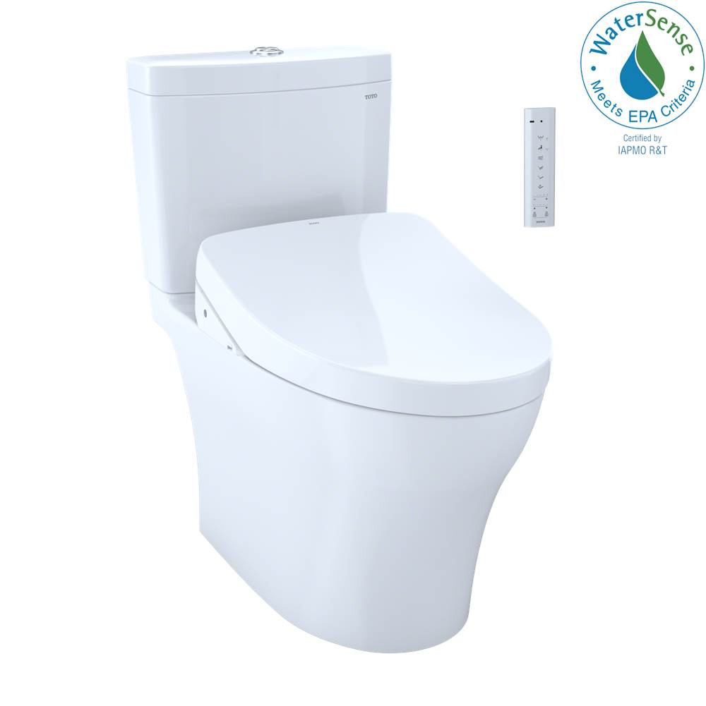 Toto WASHLET+® Aquia IV 1G Two-Piece Elongated Dual Flush 1.0 and 0.8 GPF Toilet and Contemporary WASHLET S500e Bidet Seat, Cotton White