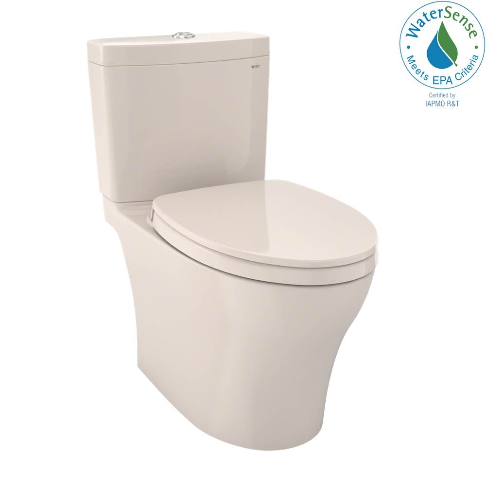 Toto Aquia IV WASHLET+ Two-Piece Elongated Dual Flush 1.28 and 0.8 GPF Toilet with CEFIONTECT, Sedona Beige