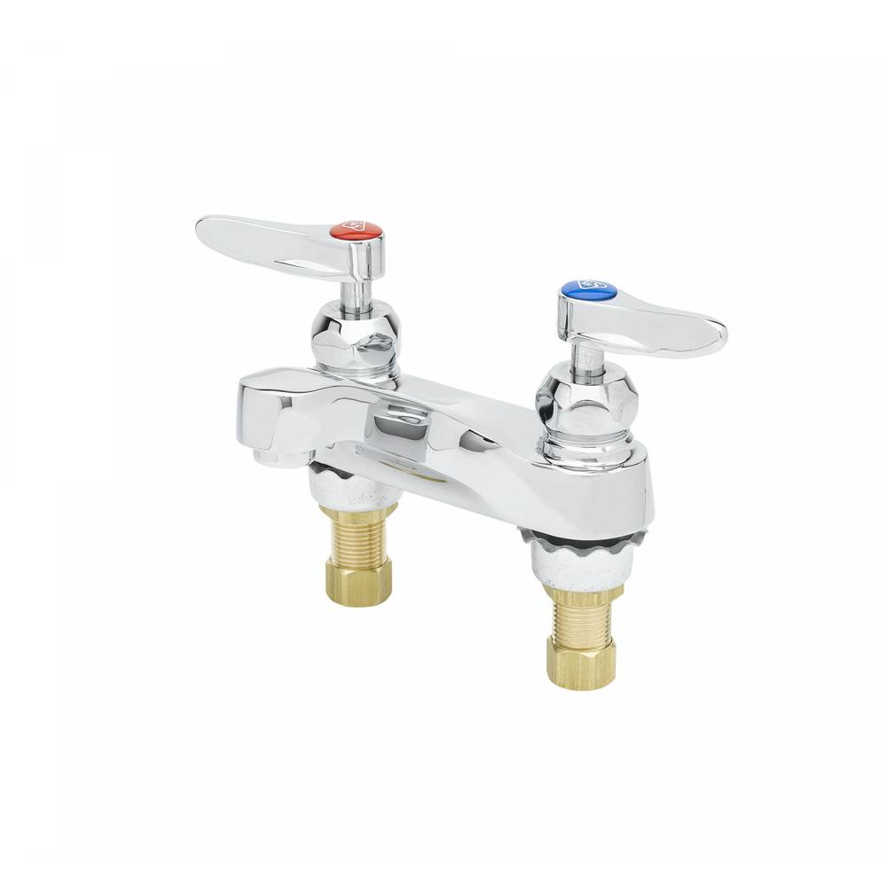 T&S Brass 4''Centerset Mixing Fct,Ceramic Cartridges,Laminar Flow Outlet,0.5 GPM Flow Control