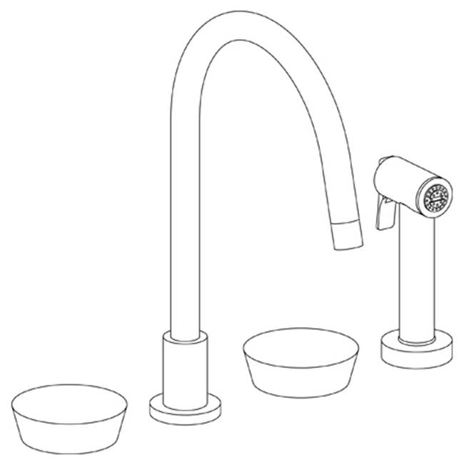 Watermark Deck Mounted 4 Hole Gooseneck Kitchen Set -  Includes Side Spray