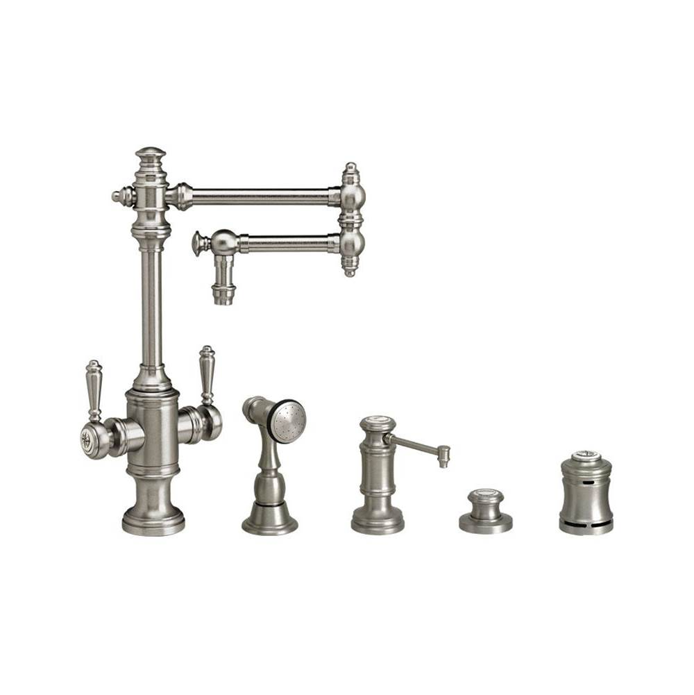 Waterstone Towson Two Handle Kitchen Faucet - 12'' Articulated Spout - 4Pc. Suite
